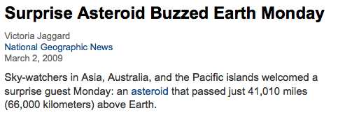 Surprise Asteroid Buzzed Earth Monday