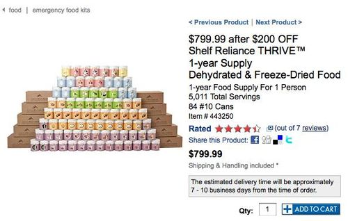 Costco - $799.99 after $200 OFF Shelf Reliance THRIVE™ 1-year Supply Dehydrated & Freeze-Dried Food_1271295627424